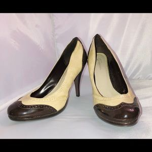 Beige and brown Delicious heels. Size 8.5